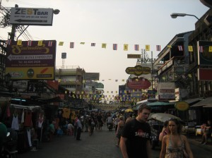 Khao San Rd. where our hostel is located